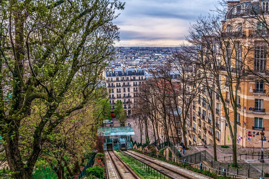 Funiculaire naar de top van de Montmartre