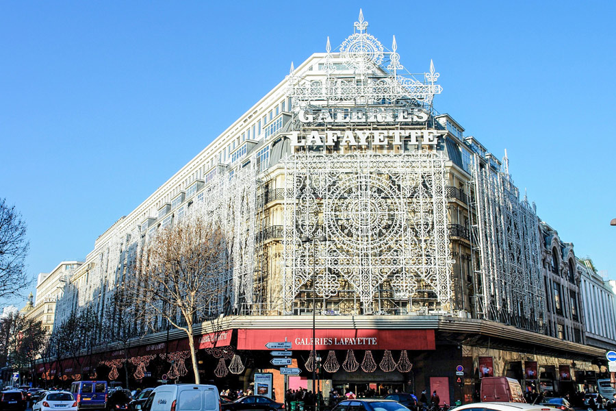 Galeries Lafayette. De beste winkelstraten van Parijs.