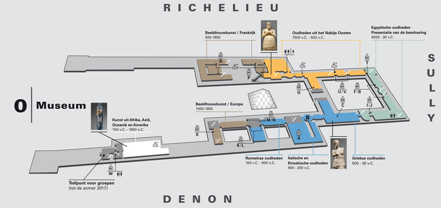 Plattegrond Louvre Museum begane grond