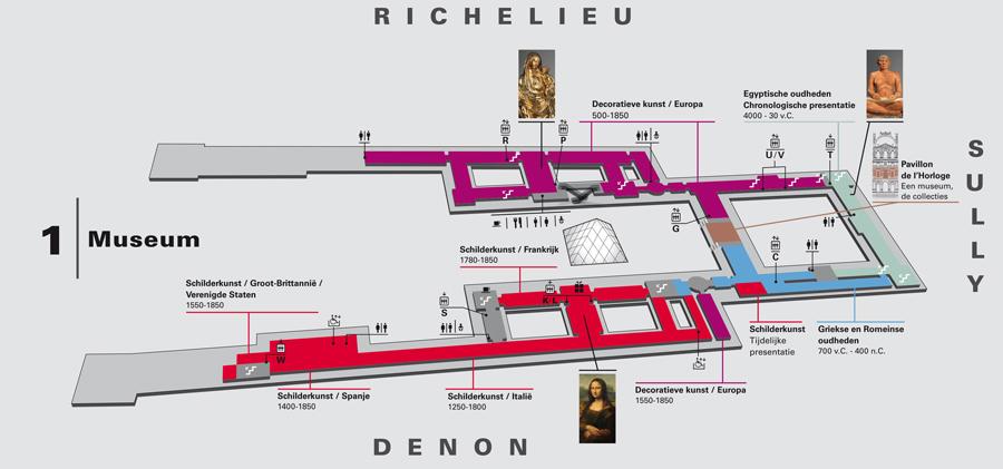 Plattegrond Louvre Museum Eerste Verdieping