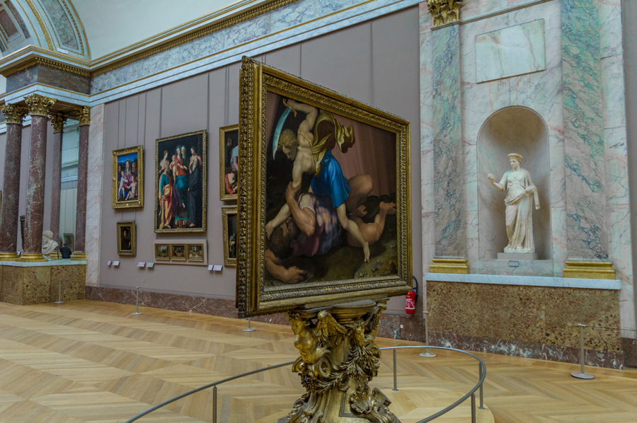 Schilderij van David en Goliath in het Louvre